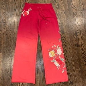 Lucky Brand Embroidered festival wide leg pants